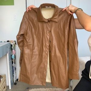 Brown pleather shirt
